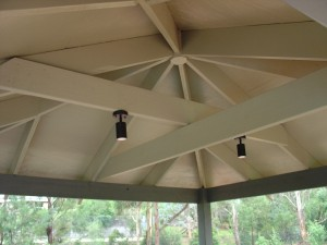 Underside of DIY Gazebo painted with lighting installed